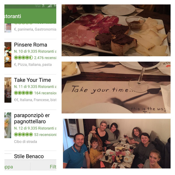 Отзыв про экскурсию в Риме, ужин в Take Your Time Трастевере