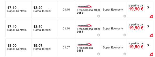 Расписание и цены скоростных поездов из Неаполя в Рим