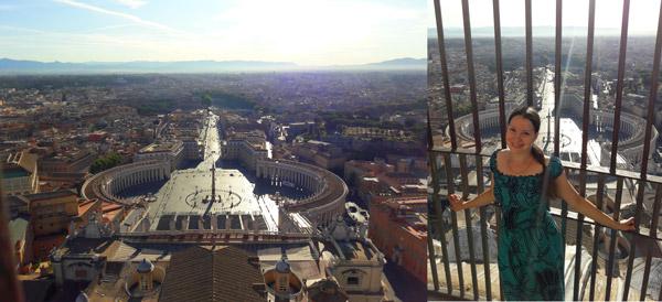 Вид с купола собора святого Петра в Ватикане не город Рим
